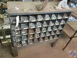 Hardware Organizer with Forty Cubbys Measuring 34'' X 12'' X 24'' on Kimball Midwest Stand Measuring