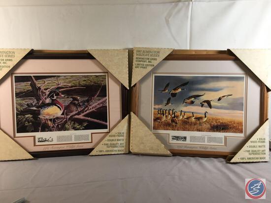 1997 Remington Wildlife Series Photo - Pair Of Wood Ducks and FIan Canada Goose