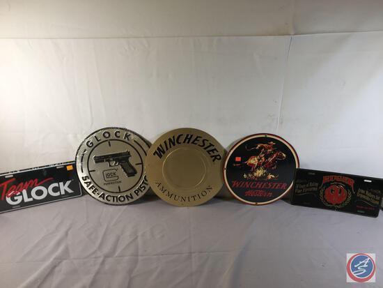 "(3)... 12:"" Round Metal Displays Glock, Winchester... Ammunition,Winchester Western, (2) Metal Plate"