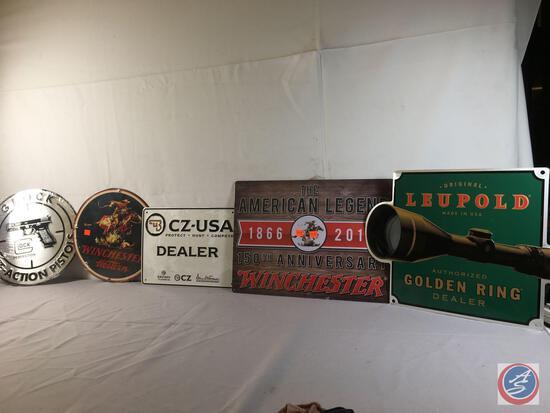 "(2) 12:"" Round Metal Displays Winchester Western and Glock, (1) Metal Sign Leupold... 17"" x 12"", (1)"