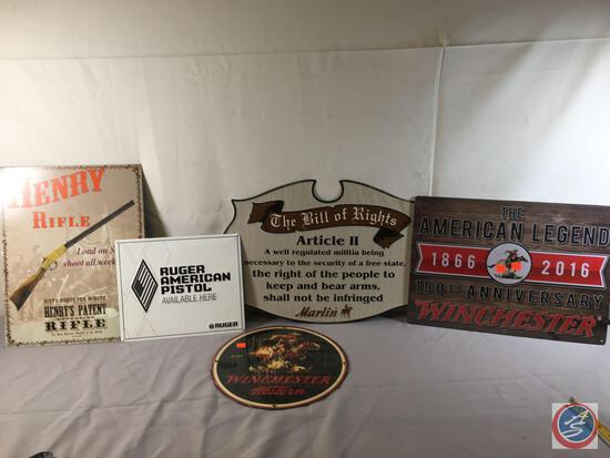 """(1) 12:"""" Round Metal Displays Winchester Western,...(1) Metal Sign Bill of RIghts 19 1/2"""" x 13 1/2"""","""