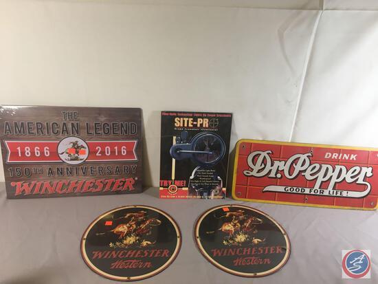 "(2) 12"" Round Metal Displays Winchester Western, (1) Metal Sign Site -Pro...9"" x 12"", (1) Metal Sign"