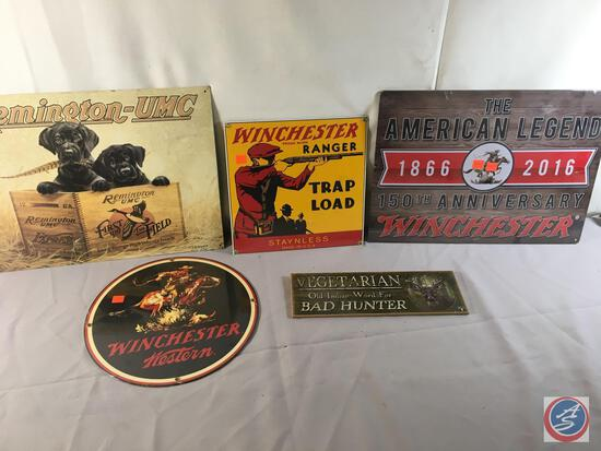 "(1) 12"" Round Metal Displays Winchester Western ...(1) Metal Sign Remington- UMC...16"" x 12"", (1) Me"
