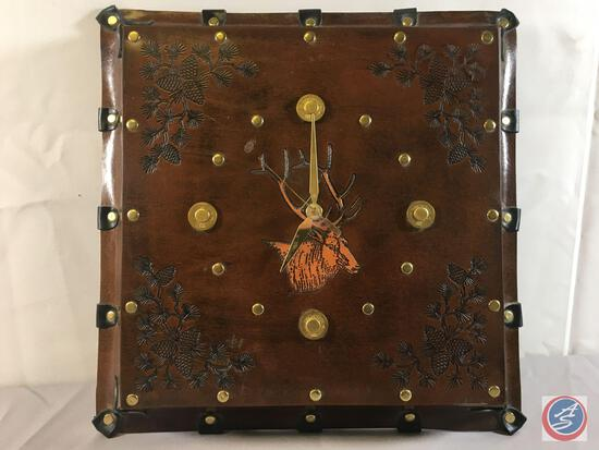 """Elk Leather Cover Clock 15"""" x 15"""""""