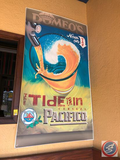 Open Neon Sign on Outside of Building and Pacifico Poster Measuring 34'' X60''