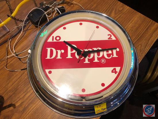 Vintage Dr. Pepper Wall Clock with Neon Light on Face Item # CU1625N {{NO SHIPPING AVAILABLE FOR