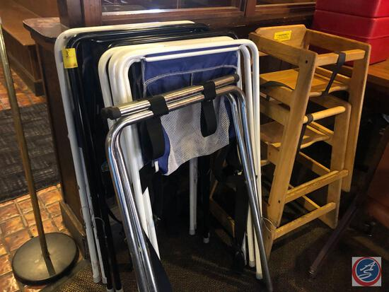 Waiter Tray Stands, (2) Wooden High Chairs, (5) Booster Seats and Please Wait To Be Seated Sign