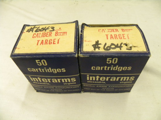 (2) 50 RD BOXES INTERARMS 8MM TARGET AMMO - ONE BOX IS ABOUT HALF FULL