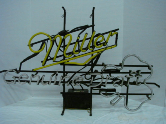 "MILLER GENUINE DRAFT NEON BAR LIGHT  34"" X 22"""