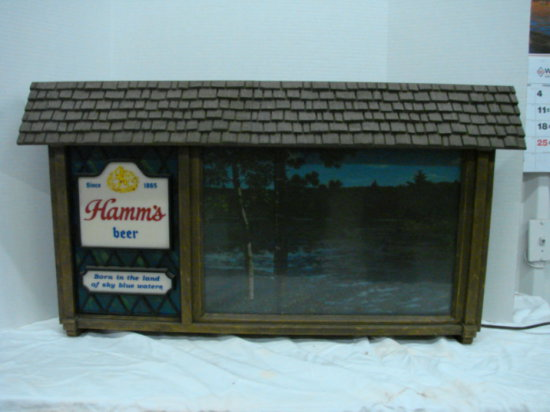 "HAMM'S BEER SCENIC BAR LIGHT 34-1/2"" X 19"""