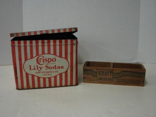 CRISPO LILY SODAS BISCUIT TIN & WOODEN KRAFT CHEESE BOX