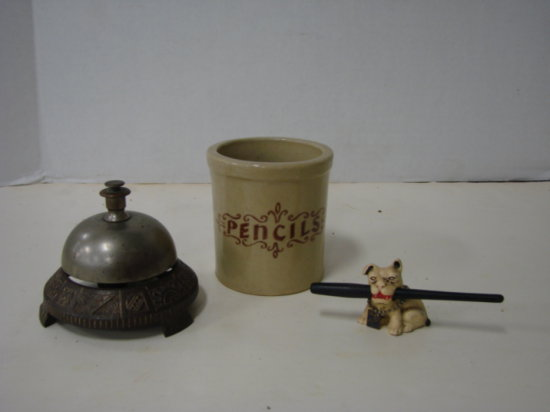 """WESTERN STONEWARE & 1933 GREENDUCK CO. DOG PENCIL HOLDER WITH TABLE """"CALL""""  BELL"""