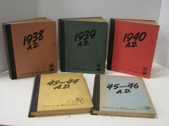 5 VOL SET 1938 - 1946  AUTOGRAPHED BOOKS - A.D COMICS BY SHOEMAKER