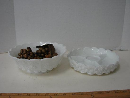 (2) WESTMORELAN MILK GLASS DISHES - BOWL & DIVIDED DISH - GRAPE PATTERN