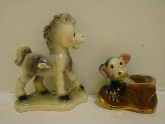 AURORA HORSE FIGURINE & UNMARKED PLANTER , DOG ON SHOE