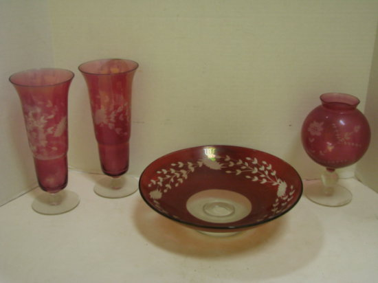 (4) PIECES VINTAGE ETCHED FLOWER CRANBERRY GLASS