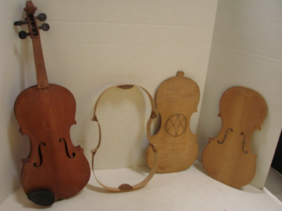WOODEN VIOLIN AND PIECES FOR REPAIR OR REPLACEMENT