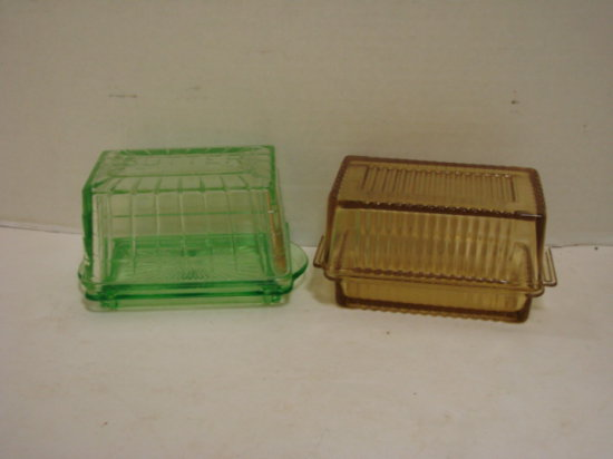 GREEN & AMBER  DEPRESSION GLASS BUTTER DISH'S