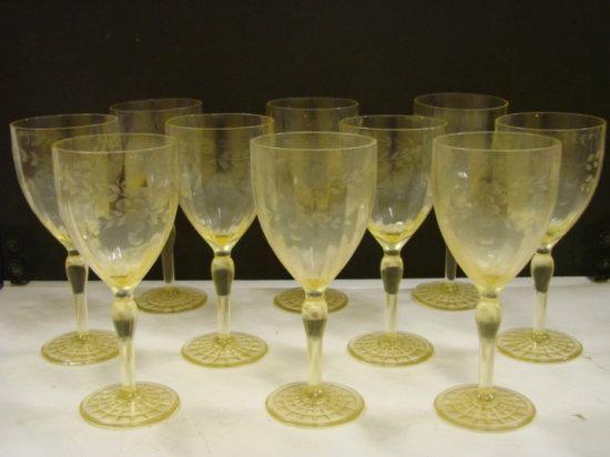 (10) YELLOW DEPRESSION GLASS STEMWARE GLASSES -