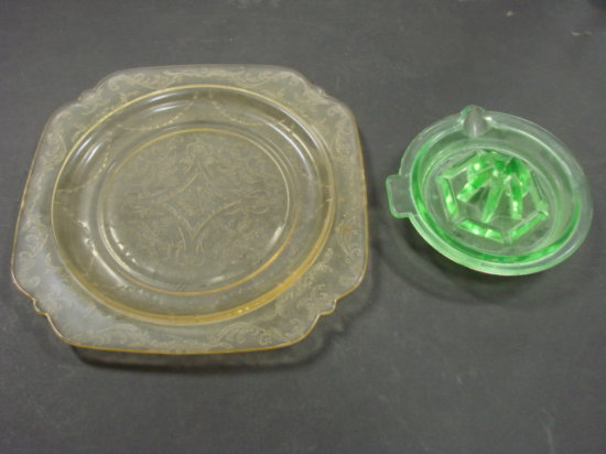 YELLOW DEPRESSION GLASS PLATE, GREEN DEPRESSION JUICER