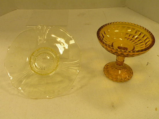 YELLOW DEPRESSION GLASS PLATE & YELLOW COMPOTE