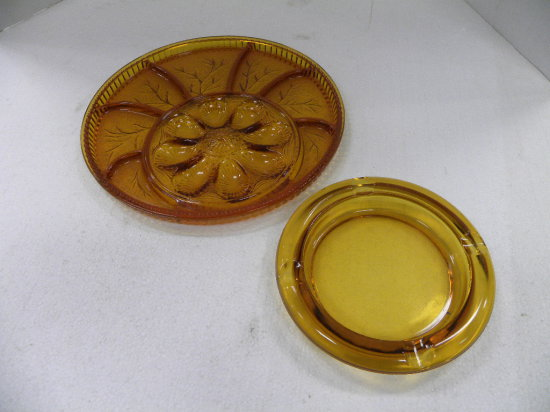 "13"" INDIANA GLASS GOLDEN AMBER EGG / HORS D'OEUVRE DISH & 8"" AMBER GLASS ASHTRAY"