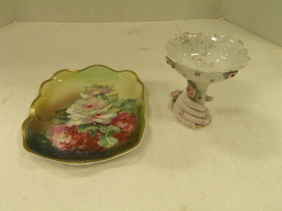 "11"" X 8""  WHITE ROSE FLORAL TRAY - PORCELAIN COMPOTE W/ HAND"