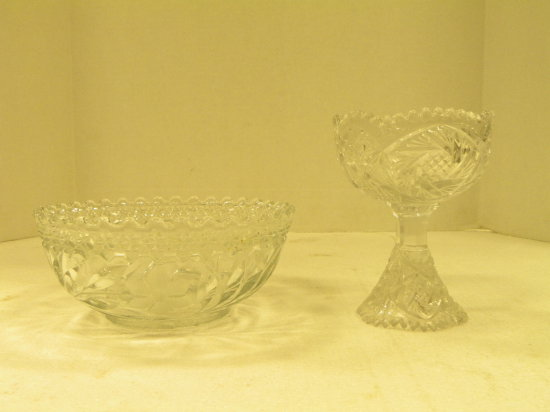 CLEAR GLASS BOWL & SMALL COMPOTE