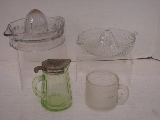 VINTAGE GLASS JUICERS , MEASURING CUP & GREEN GLASS SYRUP DISPENSER