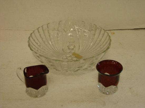 ANCHOR HOCKING OYSTER & PEARL BOWL & RUBY RED / CLEAR GLASS CREAM & SUGAR
