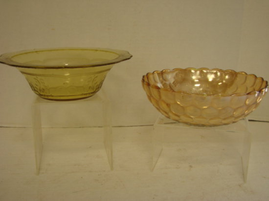 "AMBER CARNIVAL GLASS "" BUBBLE GLASS""  BOWL, & YELLOW DEPRESSION GLASS BOWL"