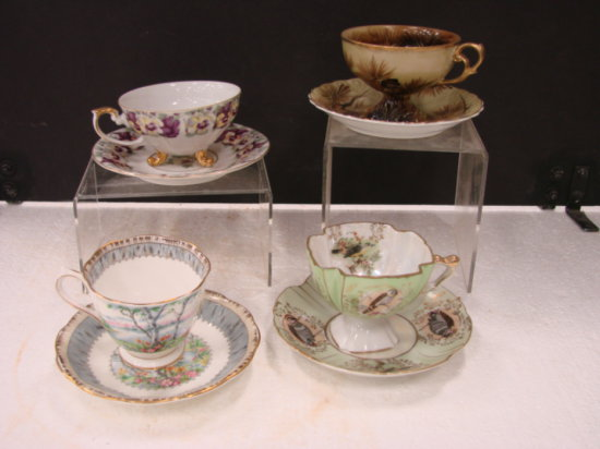 (4) CUP & SAUCER SETS - ROYAL AINSLEY, ROYAL ALBERT, & UNMARKED
