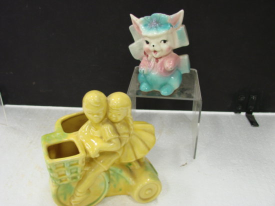 (2) PLANTERS - BOY & GIRL RIDING A TRICYCLE - RABBIT PLANTER