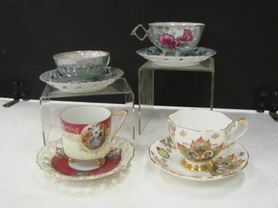 (4) CUP & SAUCER SETS - QUEEN ANNE, ROYAL HALSEY, H/B  & UNMARKED