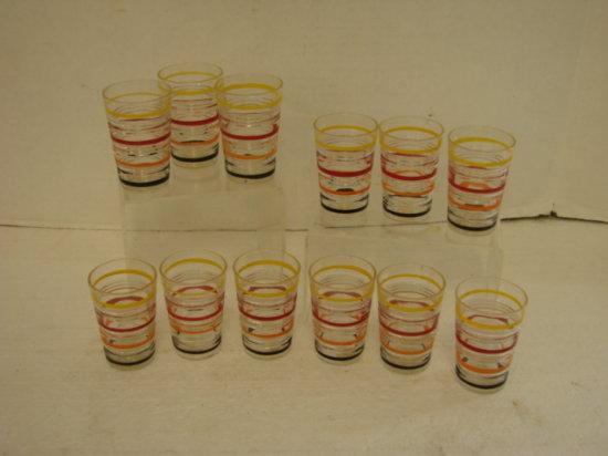 (12) VINTAGE STRIPPED SHOT GLASSES