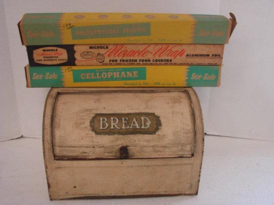 VINTAGE TIN BREAD BOX & CELLOPHANE / FOIL WRAP