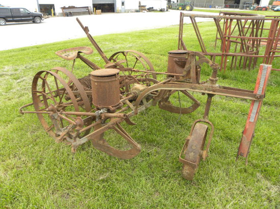 JOHN DEERE 2 ROW HORSE DRAWN CORN PLANTER W/ DOLLY WHEEL, CHECK WIRE & MARKERS
