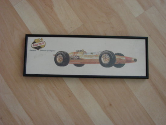 FALSTAFF EARLY INDY CAR FRAMED SIGN - 1963 LOTUS FORD DRIVEN BY JIM CLARK
