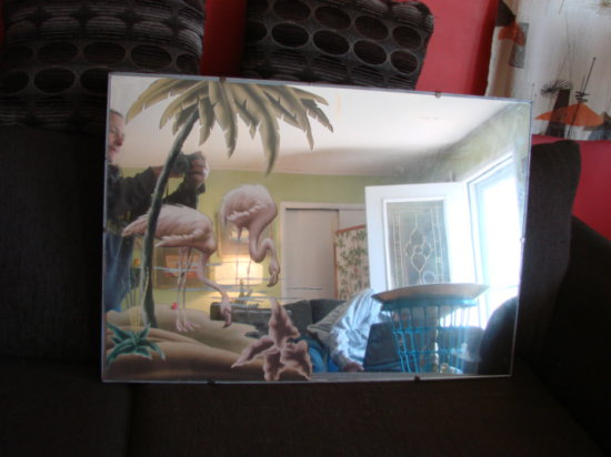 VINTAGE LARGE FLAMINGO WALL MIRROR BY TURNER - METAL FRAME