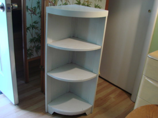 "SMALL WHITE PAINTED CORNER SHELF - 36"" TALL"