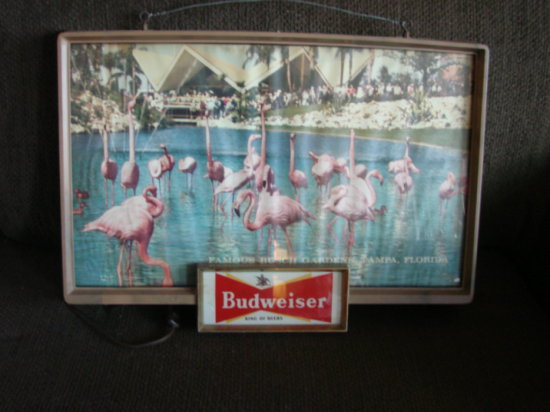 "VINTAGE BUDWEISER LIGHTED SIGN ""FAMOUS BUSCH GARDENS TAMPA, FLORIDA"" PINK FLAMINGOS"