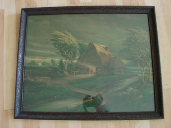 VINTAGE FRAMED PRINT OF A BLACKSMITH'S SHOP