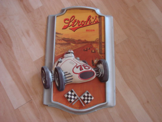 STROH'S BEER EARLY INDY CAR PLASTIC RELIEF SIGN