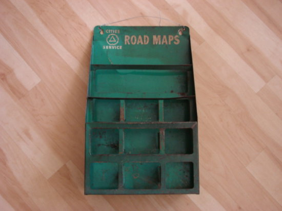 CITIES SERVICE VINTAGE TIN ROAD MAP DISPLAY