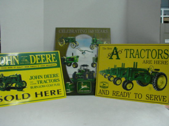 """(3) JOHN DEERE TIN SIGNS - """"A"""" SERIES ARE HERE"""