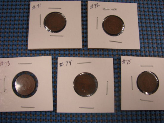 (5) INDIAN HEAD PENNY'S