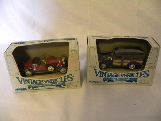 (2) ERTL 1/43 VINTAGE VEHICLES: 1930 PACKARD BOATTAIL SPEEDSTER & 1940 FORD WOODY - BOTH NIB