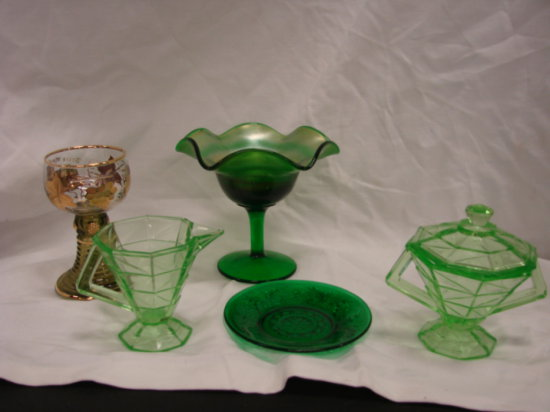 (5) PIECES VINTAGE GREEN GLASS DISHES