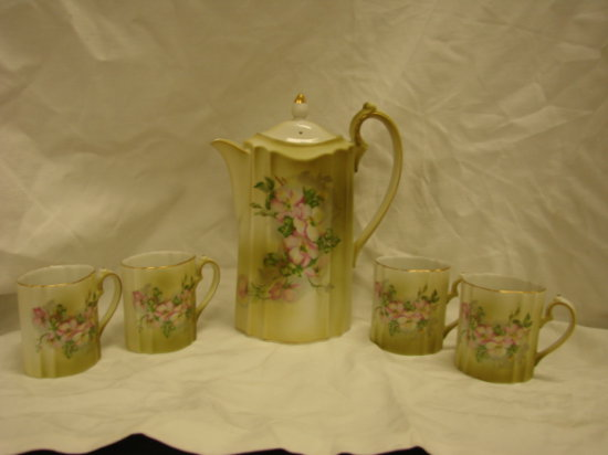 HAND PAINTED NIPPON COFFEE POT & 4 CUPS
