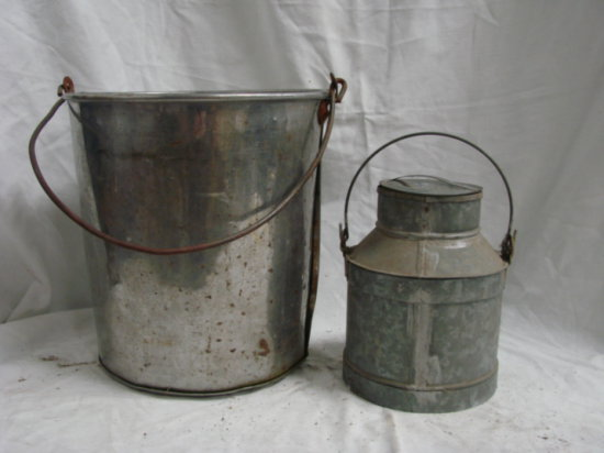 VINTAGE STAINLESS/ ALUMINUM BUCKET & BAILED CAN